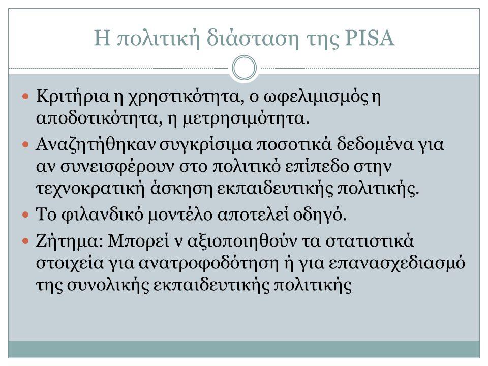 Η πολιτική διάσταση της PISA Κριτήρια η χρηστικότητα, ο ωφελιμισμός η αποδοτικότητα, η μετρησιμότητα.