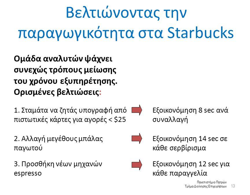 Πανεπιστήμιο Πατρών Τμήμα Διοίκησης Επιχειρήσεων Βελτιώνοντας την παραγωγικότητα στα Starbucks 13 Ομάδα αναλυτών ψάχνει συνεχώς τρόπους μείωσης του χρόνου εξυπηρέτησης.
