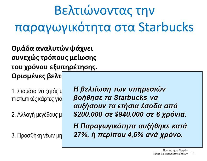 Πανεπιστήμιο Πατρών Τμήμα Διοίκησης Επιχειρήσεων Βελτιώνοντας την παραγωγικότητα στα Starbucks 14 Ομάδα αναλυτών ψάχνει συνεχώς τρόπους μείωσης του χρόνου εξυπηρέτησης.