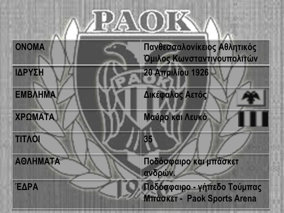 Ιδρυση  Ο Π.Α.Ο.Κ.