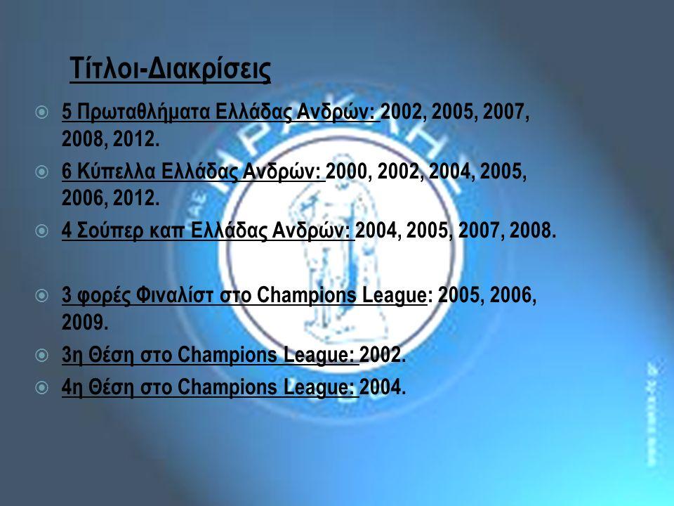 Τίτλοι-Διακρίσεις  5 Πρωταθλήματα Ελλάδας Ανδρών: 2002, 2005, 2007, 2008, 2012.