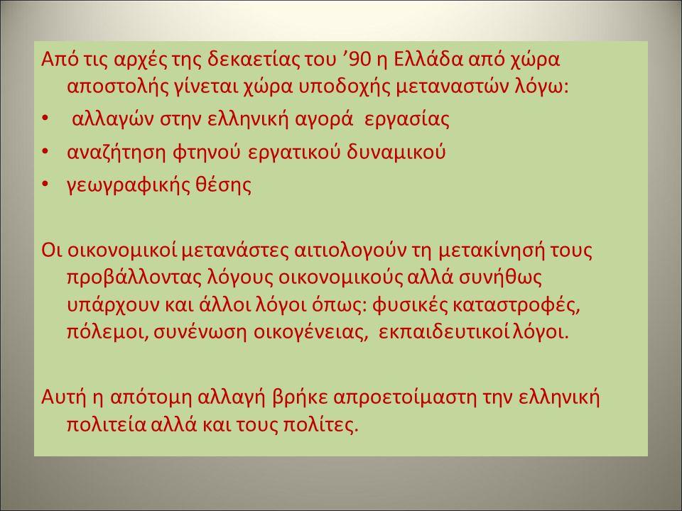 Από τις αρχές της δεκαετίας του '90 η Ελλάδα από χώρα αποστολής γίνεται χώρα υποδοχής μεταναστών λόγω: αλλαγών στην ελληνική αγορά εργασίας αναζήτηση