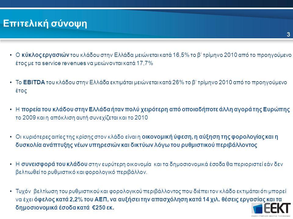 Επιτελική σύνοψη Ο κύκλος εργασιών του κλάδου στην Ελλάδα μειώνεται κατά 16,5% το β' τρίμηνο 2010 από το προηγούμενο έτος με τα service revenues να μειώνονται κατά 17,7% Το EBITDA του κλάδου στην Ελλάδα εκτιμάται μειώνεται κατά 26% το β' τρίμηνο 2010 από το προηγούμενο έτος Η πορεία του κλάδου στην Ελλάδα ήταν πολύ χειρότερη από οποιαδήποτε άλλη αγορά της Ευρώπης το 2009 και η απόκλιση αυτή συνεχίζεται και το 2010 Οι κυριότερες αιτίες της κρίσης στον κλάδο είναι η οικονομική ύφεση, η αύξηση της φορολογίας και η δυσκολία ανάπτυξης νέων υπηρεσιών και δικτύων λόγω του ρυθμιστικού περιβάλλοντος Η συνεισφορά του κλάδου στην ευρύτερη οικονομία και τα δημοσιονομικά έσοδα θα περιοριστεί εάν δεν βελτιωθεί το ρυθμιστικό και φορολογικό περιβάλλον.