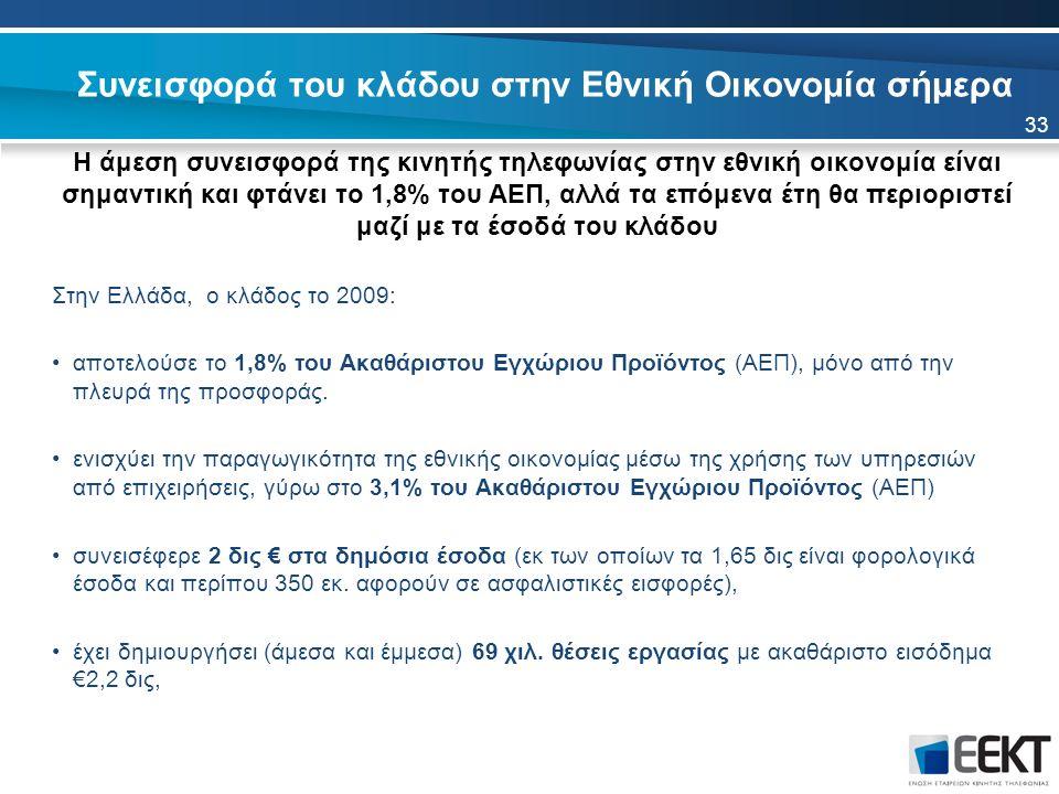 Συνεισφορά του κλάδου στην Εθνική Οικονομία σήμερα Η άμεση συνεισφορά της κινητής τηλεφωνίας στην εθνική οικονομία είναι σημαντική και φτάνει το 1,8% του ΑΕΠ, αλλά τα επόμενα έτη θα περιοριστεί μαζί με τα έσοδά του κλάδου Στην Ελλάδα, ο κλάδος το 2009: αποτελούσε το 1,8% του Ακαθάριστου Εγχώριου Προϊόντος (ΑΕΠ), μόνο από την πλευρά της προσφοράς.
