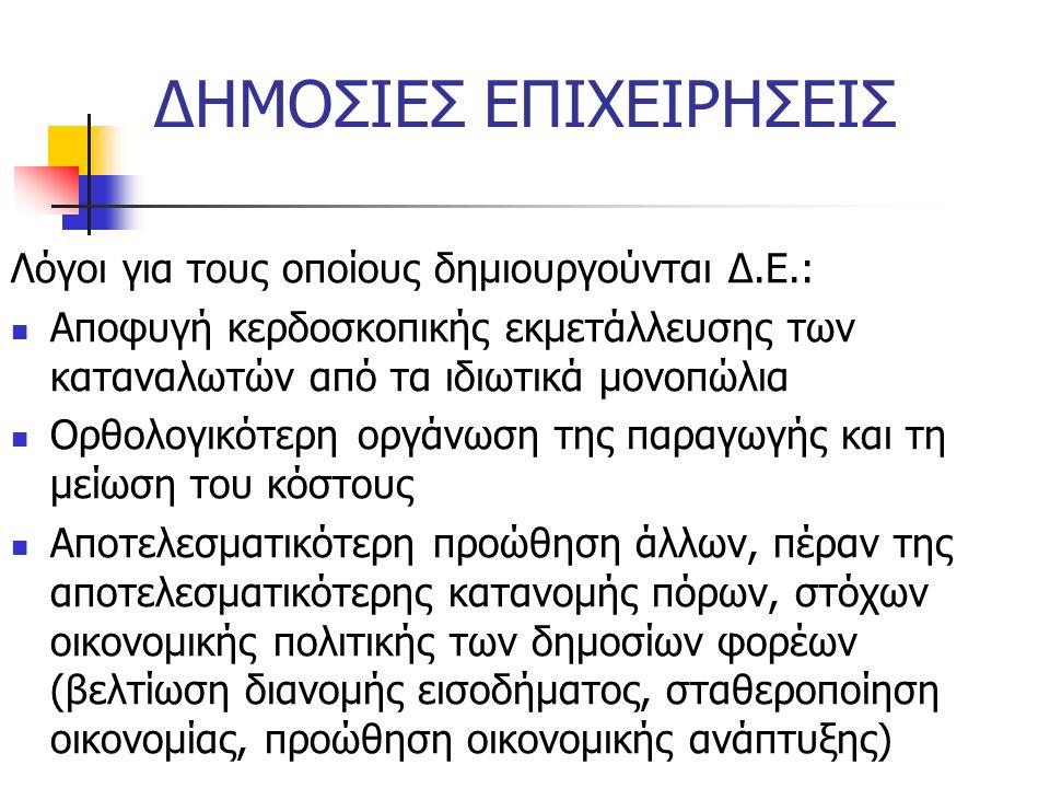 ΔΗΜΟΣΙΕΣ ΕΠΙΧΕΙΡΗΣΕΙΣ Λόγοι για τους οποίους δημιουργούνται Δ.Ε.: Αποφυγή κερδοσκοπικής εκμετάλλευσης των καταναλωτών από τα ιδιωτικά μονοπώλια Ορθολο