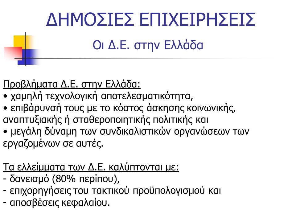 ΔΗΜΟΣΙΕΣ ΕΠΙΧΕΙΡΗΣΕΙΣ Οι Δ.Ε. στην Ελλάδα Προβλήματα Δ.Ε. στην Ελλάδα: χαμηλή τεχνολογική αποτελεσματικότητα, επιβάρυνσή τους με το κόστος άσκησης κοι