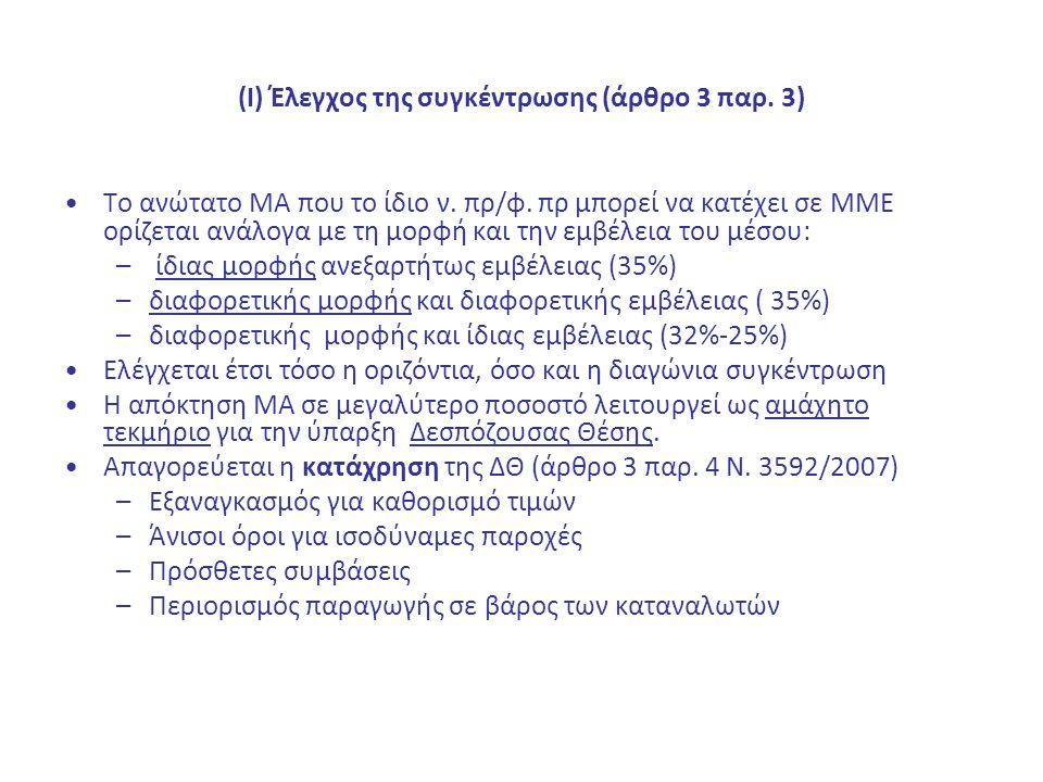 (Ι) Έλεγχος της συγκέντρωσης (άρθρο 3 παρ. 3) Το ανώτατο ΜΑ που το ίδιο ν. πρ/φ. πρ μπορεί να κατέχει σε ΜΜΕ ορίζεται ανάλογα με τη μορφή και την εμβέ