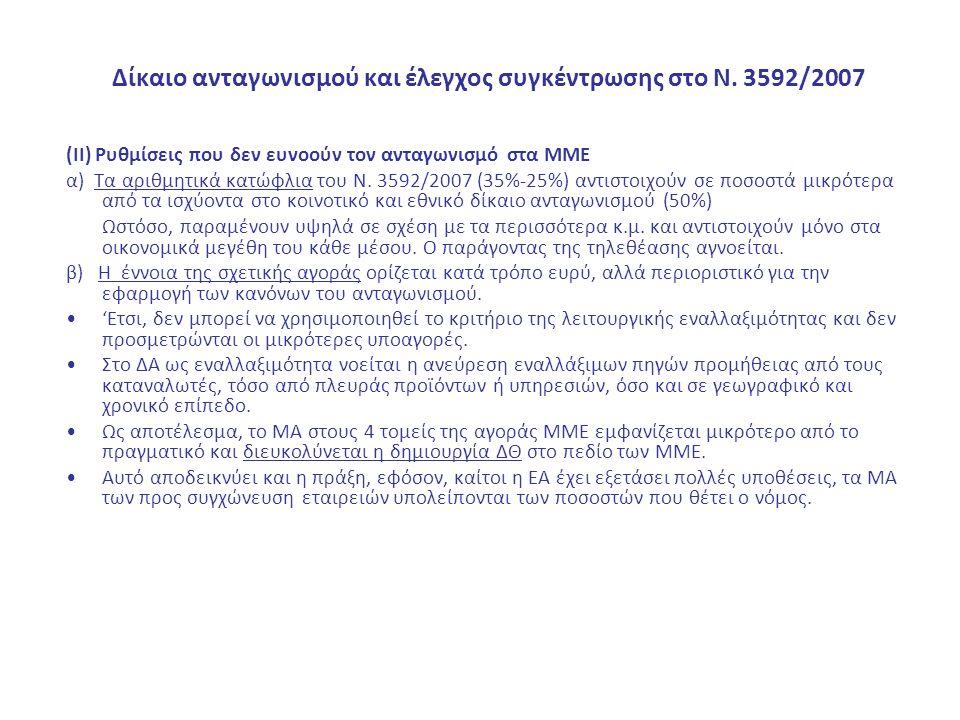 Δίκαιο ανταγωνισμού και έλεγχος συγκέντρωσης στο Ν. 3592/2007 (ΙΙ) Ρυθμίσεις που δεν ευνοούν τον ανταγωνισμό στα ΜΜΕ α) Τα αριθμητικά κατώφλια του Ν.