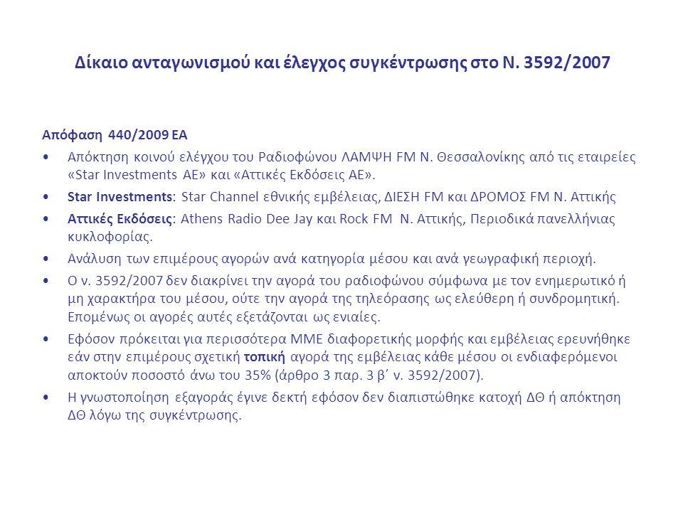 Δίκαιο ανταγωνισμού και έλεγχος συγκέντρωσης στο Ν. 3592/2007 Απόφαση 440/2009 ΕΑ Απόκτηση κοινού ελέγχου του Ραδιοφώνου ΛΑΜΨΗ FM Ν. Θεσσαλονίκης από
