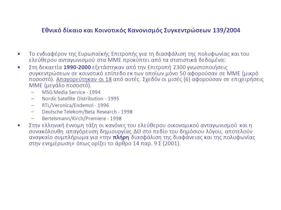 Εθνικό δίκαιο και Κοινοτικός Κανονισμός Συγκεντρώσεων 139/2004 Το ενδιαφέρον της Ευρωπαϊκής Επιτροπής για τη διασφάλιση της πολυφωνίας και του ελεύθερου ανταγωνισμού στα ΜΜΕ προκύπτει από τα στατιστικά δεδομένα: Στη δεκαετία 1990-2000 εξετάστηκαν από την Επιτροπή 2300 γνωστοποιήσεις συγκεντρώσεων σε κοινοτικό επίπεδο εκ των οποίων μόνο 50 αφορούσαν σε ΜΜΕ (μικρό ποσοστό).
