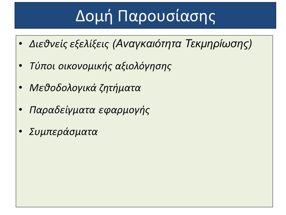 Δομή Παρουσίασης Διεθνείς εξελίξεις (Αναγκαιότητα Τεκμηρίωσης) Τύποι οικονομικής αξιολόγησης Μεθοδολογικά ζητήματα Παραδείγματα εφαρμογής Συμπεράσματα