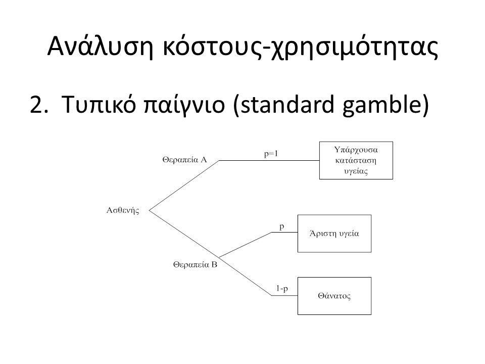 Ανάλυση κόστους-χρησιμότητας 2.Τυπικό παίγνιο (standard gamble)