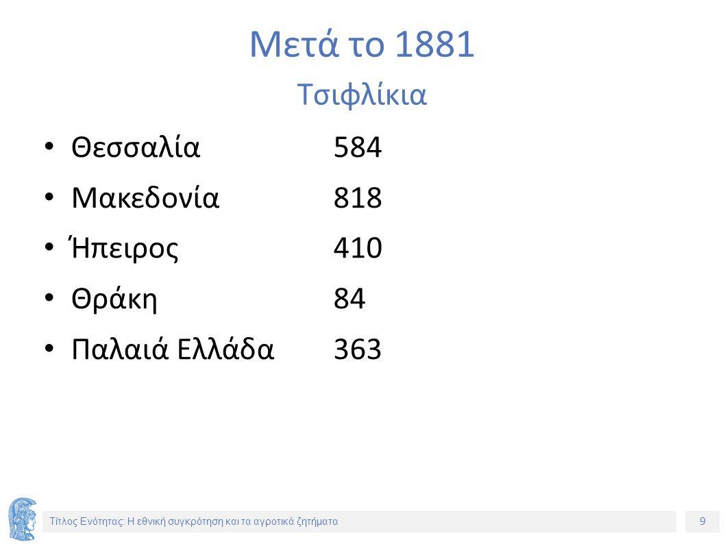 9 Τίτλος Ενότητας: Η εθνική συγκρότηση και τα αγροτικά ζητήματα Μετά το 1881 Τσιφλίκια Θεσσαλία584 Μακεδονία818 Ήπειρος410 Θράκη84 Παλαιά Ελλάδα363