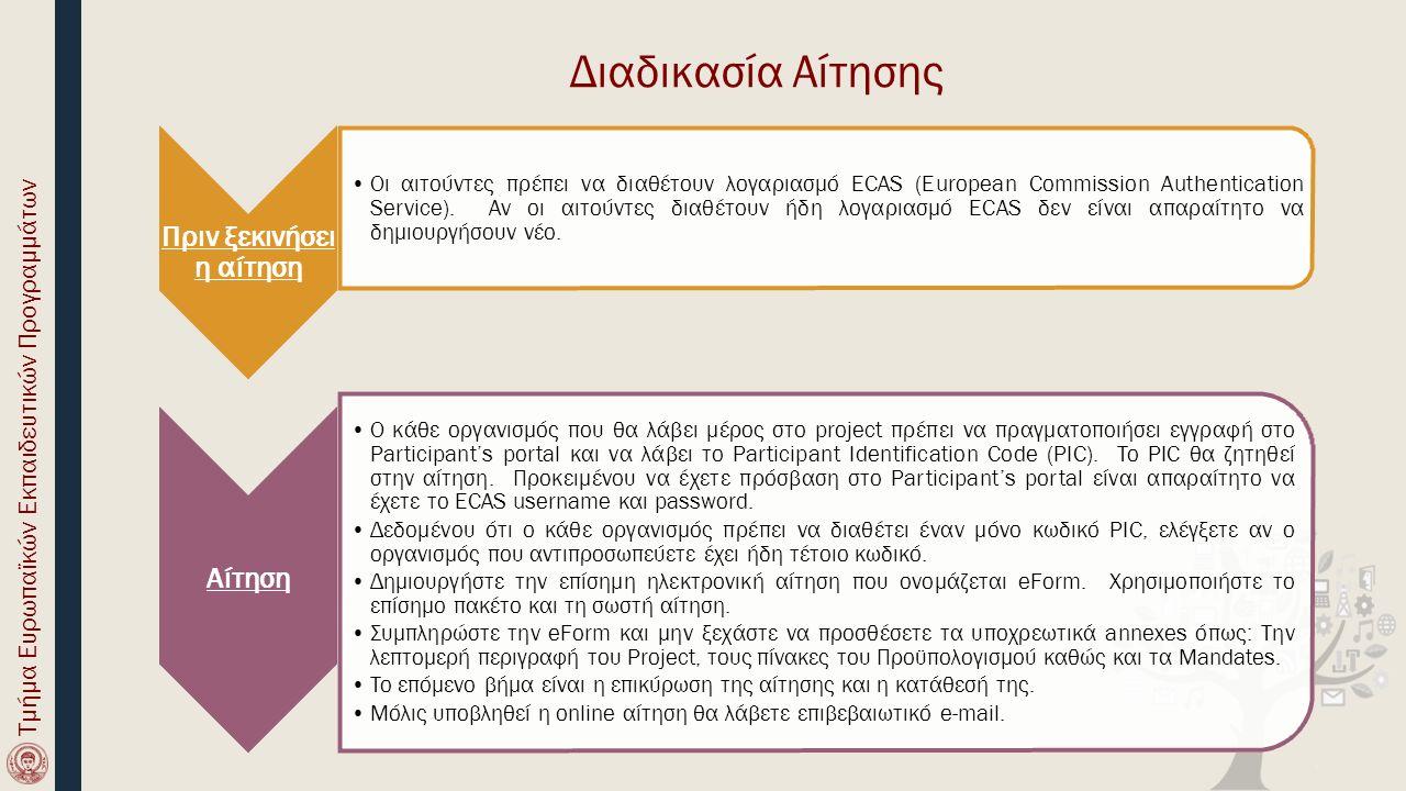 Πριν ξεκινήσει η αίτηση Οι αιτούντες πρέπει να διαθέτουν λογαριασμό ECAS (European Commission Authentication Service). Αν οι αιτούντες διαθέτουν ήδη λ
