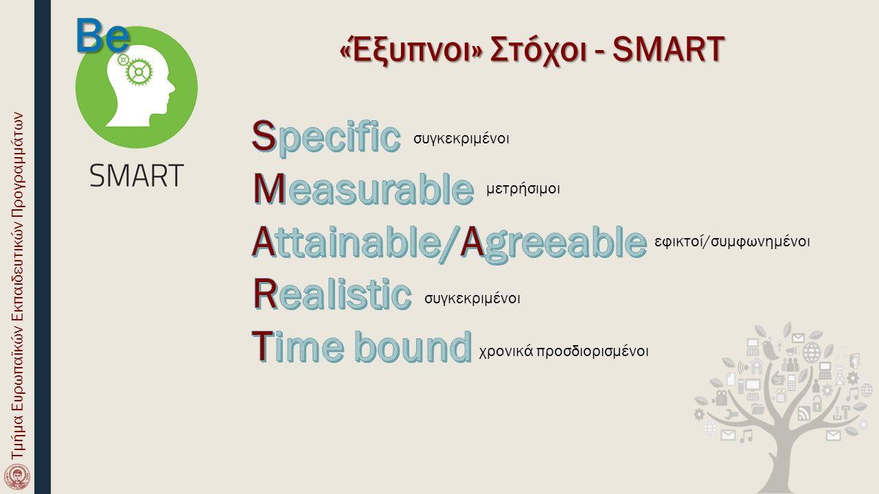 «Έξυπνοι» Στόχοι - SMART συγκεκριμένοι μετρήσιμοι εφικτοί/συμφωνημένοι συγκεκριμένοι χρονικά προσδιορισμένοι Τμήμα Ευρωπαϊκών Εκπαιδευτικών Προγραμμάτων