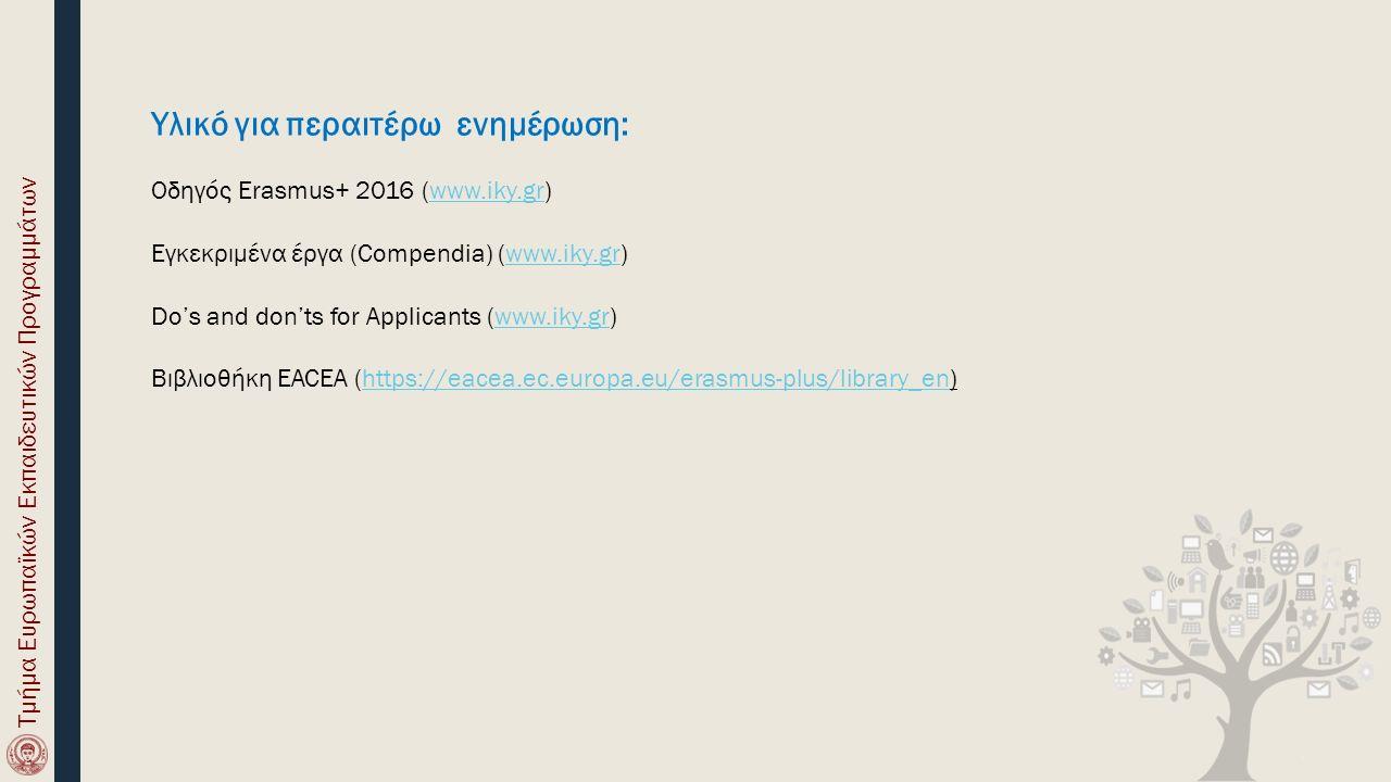 Υλικό για περαιτέρω ενημέρωση: Οδηγός Erasmus+ 2016 (www.iky.gr)www.iky.gr Εγκεκριμένα έργα (Compendia) (www.iky.gr)www.iky.gr Do's and don'ts for App