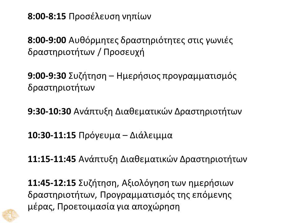 8:00-8:15 Προσέλευση νηπίων 8:00-9:00 Αυθόρμητες δραστηριότητες στις γωνιές δραστηριοτήτων / Προσευχή 9:00-9:30 Συζήτηση – Ημερήσιος προγραμματισμός δ