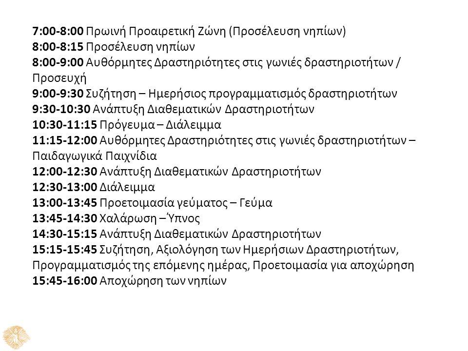 7:00-8:00 Πρωινή Προαιρετική Ζώνη (Προσέλευση νηπίων) 8:00-8:15 Προσέλευση νηπίων 8:00-9:00 Αυθόρμητες Δραστηριότητες στις γωνιές δραστηριοτήτων / Προ