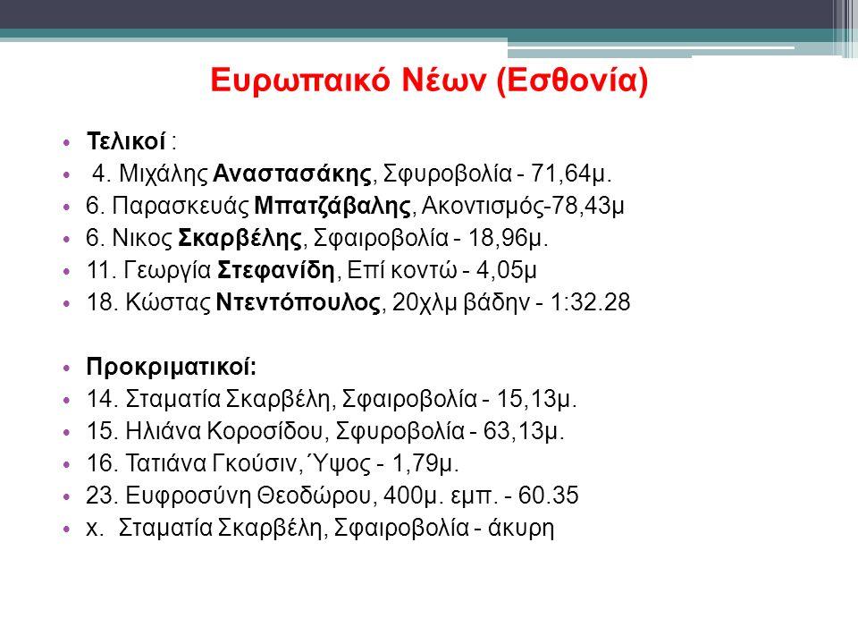 Ευρωπαικό Νέων (Εσθονία) Τελικοί : 4. Μιχάλης Αναστασάκης, Σφυροβολία - 71,64μ.