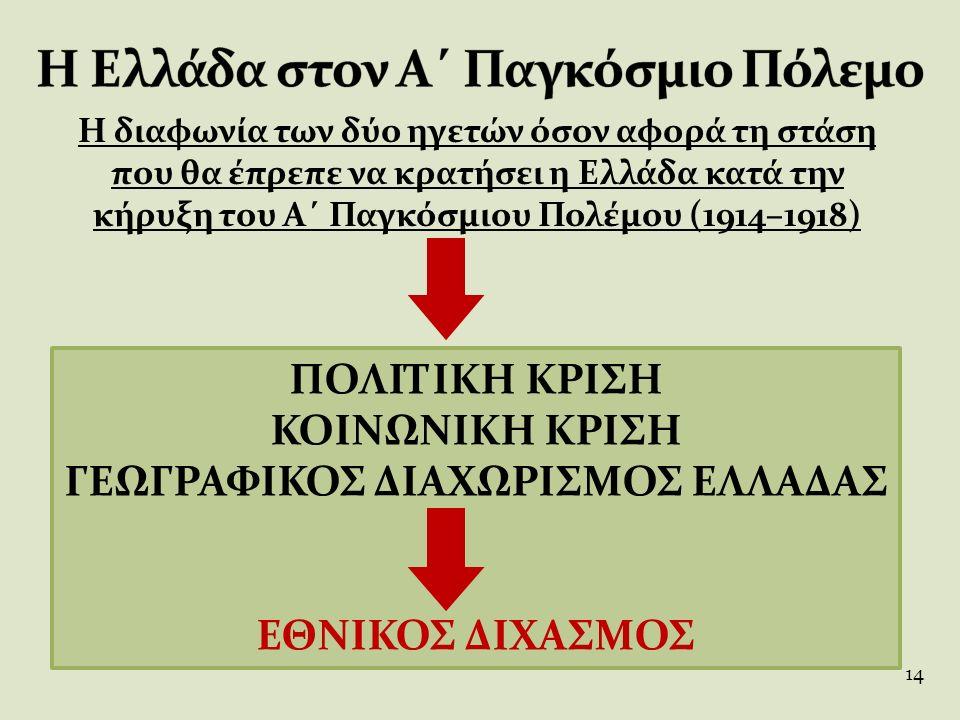 Η διαφωνία των δύο ηγετών όσον αφορά τη στάση που θα έπρεπε να κρατήσει η Ελλάδα κατά την κήρυξη του Α΄ Παγκόσμιου Πολέμου (1914–1918) ΠΟΛΙΤΙΚΗ ΚΡΙΣΗ