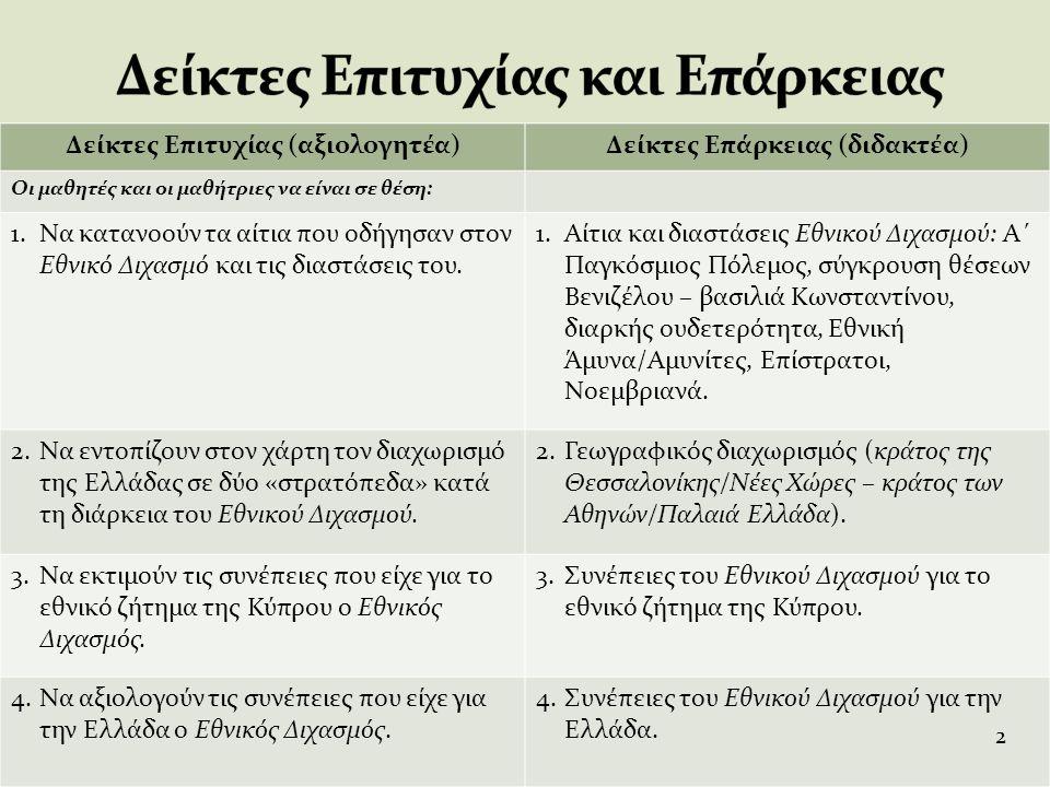 Συνέπειες: Ο Εθνικός Διχασμός του 1915, που θυμόμαστε σήμερα περισσότερο σαν σύγκρουση στην κορυφή, διαίρεσε και συγκλόνισε ολόκληρη την Ελληνική κοινωνία σ' όλα τα επίπεδα – γεγονός πρωτοφανές στη νεότερη ιστορία μας – διέρρηξε κάθε κοινωνική σχέση, ακόμα και οικογενειακούς δεσμούς, και, σαν εμφύλιος πόλεμος, πήρε σ' ορισμένες φάσεις τη μορφή ενός αγώνα εξόντωσης του αντιπάλου, έξω από κάθε κανόνα και περιορισμό.