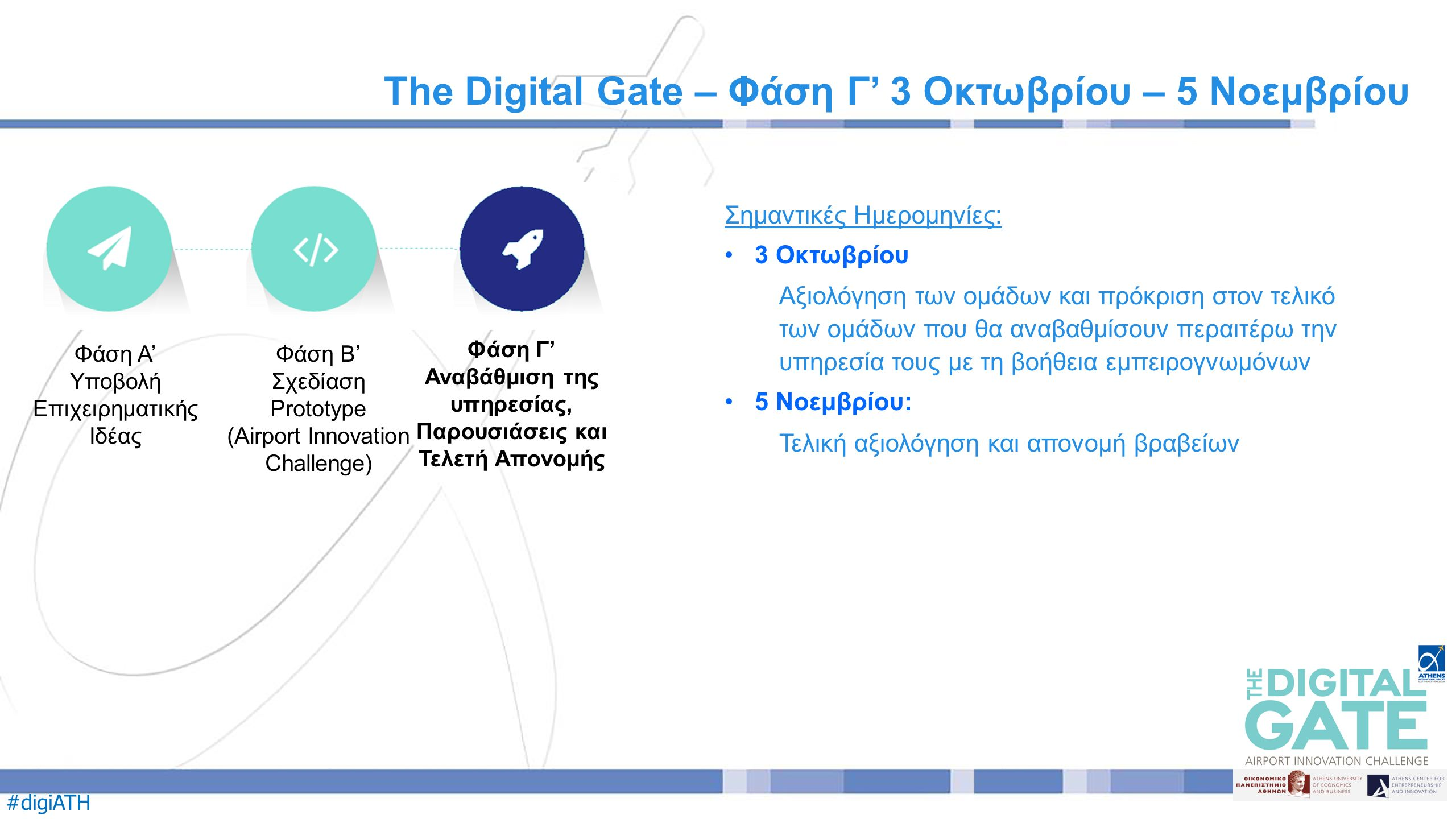 #digiATH Σημαντικές Ημερομηνίες: 3 Οκτωβρίου Αξιολόγηση των ομάδων και πρόκριση στον τελικό των ομάδων που θα αναβαθμίσουν περαιτέρω την υπηρεσία τους με τη βοήθεια εμπειρογνωμόνων 5 Νοεμβρίου: Τελική αξιολόγηση και απονομή βραβείων The Digital Gate – Φάση Γ' 3 Οκτωβρίου – 5 Νοεμβρίου Φάση Α' Υποβολή Επιχειρηματικής Ιδέας Φάση Β' Σχεδίαση Prototype (Airport Innovation Challenge) Φάση Γ' Αναβάθμιση της υπηρεσίας, Παρουσιάσεις και Τελετή Απονομής
