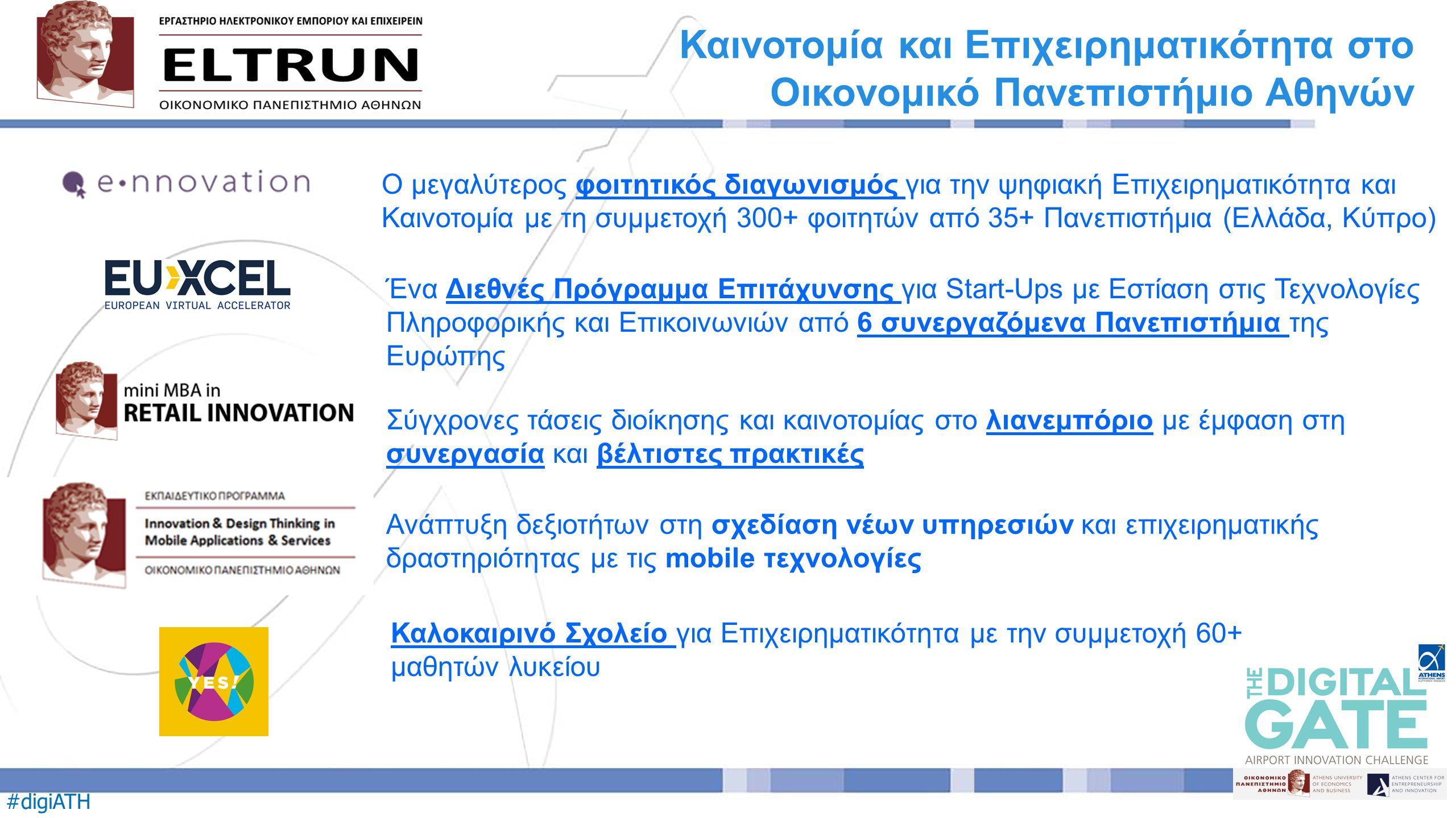 #digiATH O μεγαλύτερος φοιτητικός διαγωνισμός για την ψηφιακή Επιχειρηματικότητα και Καινοτομία με τη συμμετοχή 300+ φοιτητών από 35+ Πανεπιστήμια (Ελλάδα, Κύπρο) Καινοτομία και Επιχειρηματικότητα στο Οικονομικό Πανεπιστήμιο Αθηνών Ένα Διεθνές Πρόγραμμα Επιτάχυνσης για Start-Ups με Εστίαση στις Τεχνολογίες Πληροφορικής και Επικοινωνιών από 6 συνεργαζόμενα Πανεπιστήμια της Ευρώπης Ανάπτυξη δεξιοτήτων στη σχεδίαση νέων υπηρεσιών και επιχειρηματικής δραστηριότητας με τις mobile τεχνολογίες Σύγχρονες τάσεις διοίκησης και καινοτομίας στο λιανεμπόριο με έμφαση στη συνεργασία και βέλτιστες πρακτικές Καλοκαιρινό Σχολείο για Επιχειρηματικότητα με την συμμετοχή 60+ μαθητών λυκείου