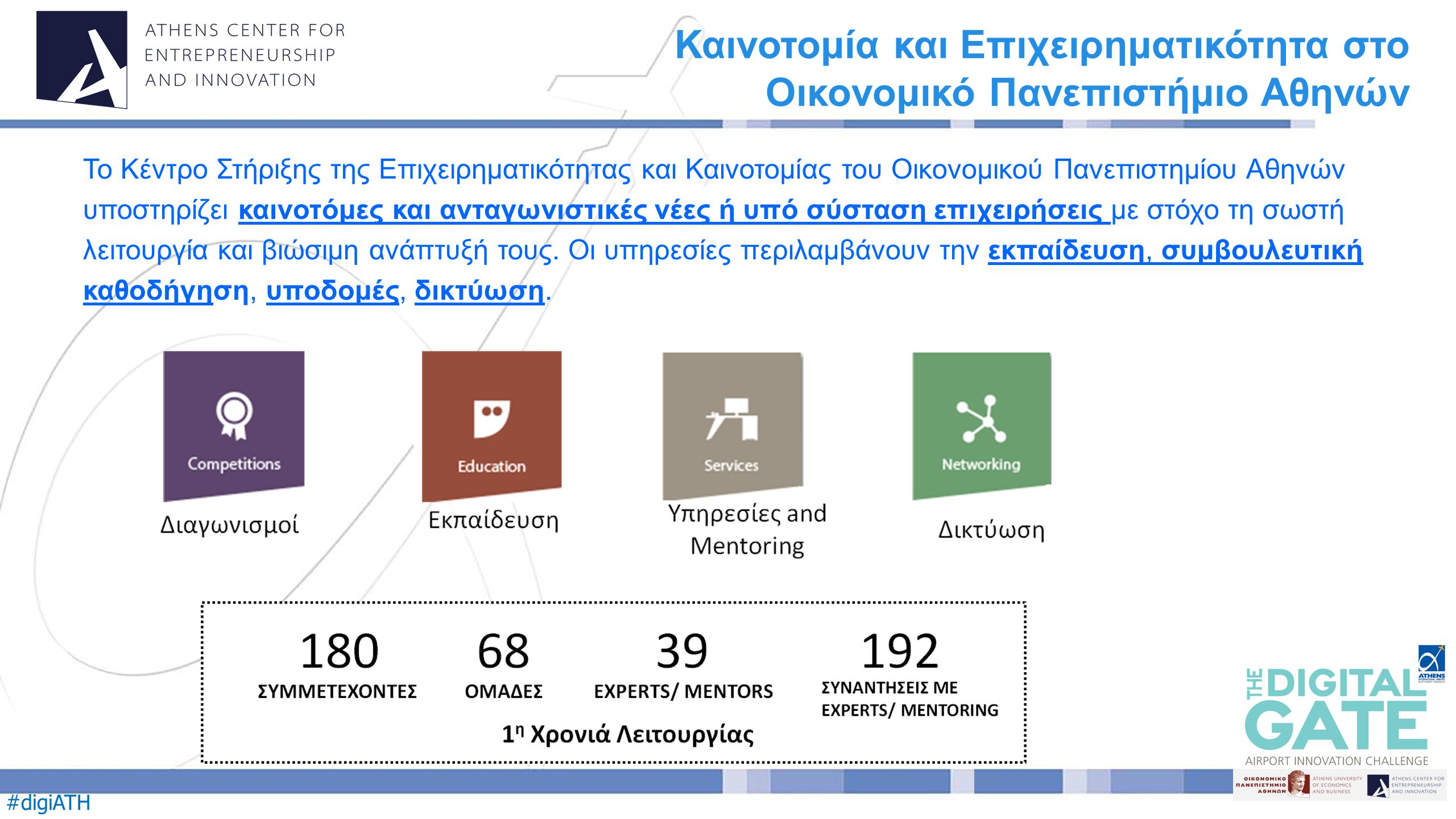 #digiATH Το Κέντρο Στήριξης της Επιχειρηματικότητας και Καινοτομίας του Οικονομικού Πανεπιστημίου Αθηνών υποστηρίζει καινοτόμες και ανταγωνιστικές νέες ή υπό σύσταση επιχειρήσεις με στόχο τη σωστή λειτουργία και βιώσιμη ανάπτυξή τους.
