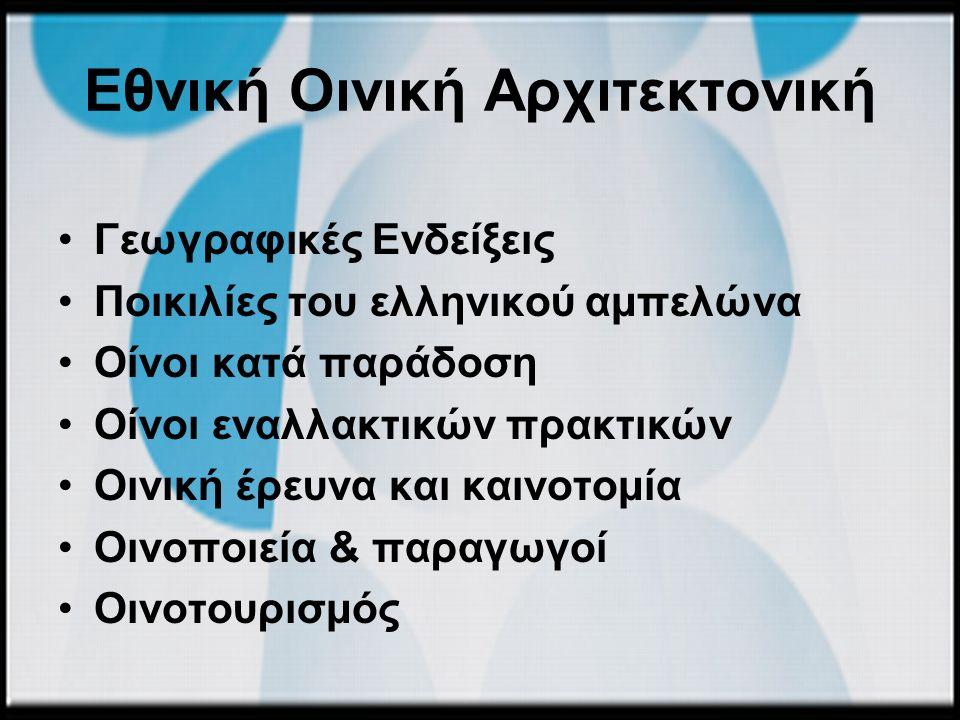 Εθνική Οινική Αρχιτεκτονική Γεωγραφικές Ενδείξεις Ποικιλίες του ελληνικού αμπελώνα Οίνοι κατά παράδοση Οίνοι εναλλακτικών πρακτικών Οινική έρευνα και καινοτομία Οινοποιεία & παραγωγοί Οινοτουρισμός