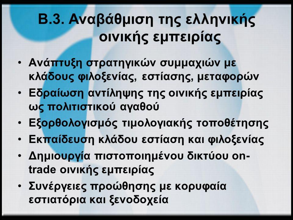Β.3. Αναβάθμιση της ελληνικής οινικής εμπειρίας Ανάπτυξη στρατηγικών συμμαχιών με κλάδους φιλοξενίας, εστίασης, μεταφορών Εδραίωση αντίληψης της οινικ