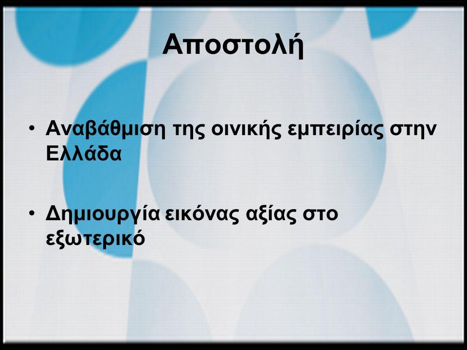 Σκοποί για το ελληνικό κρασί Εγχώρια αγορά : «ανάδειξη του επώνυμου, τυποποιημένου ελληνικού κρασιού και η αύξηση των πωλήσεών του» Διεθνείς αγορές : «αύξηση της μέσης τιμής πώλησης των ελληνικών εμφιαλωμένων κρασιών»