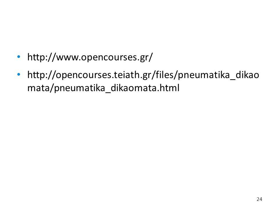 http://www.opencourses.gr/ http://opencourses.teiath.gr/files/pneumatika_dikao mata/pneumatika_dikaomata.html 24