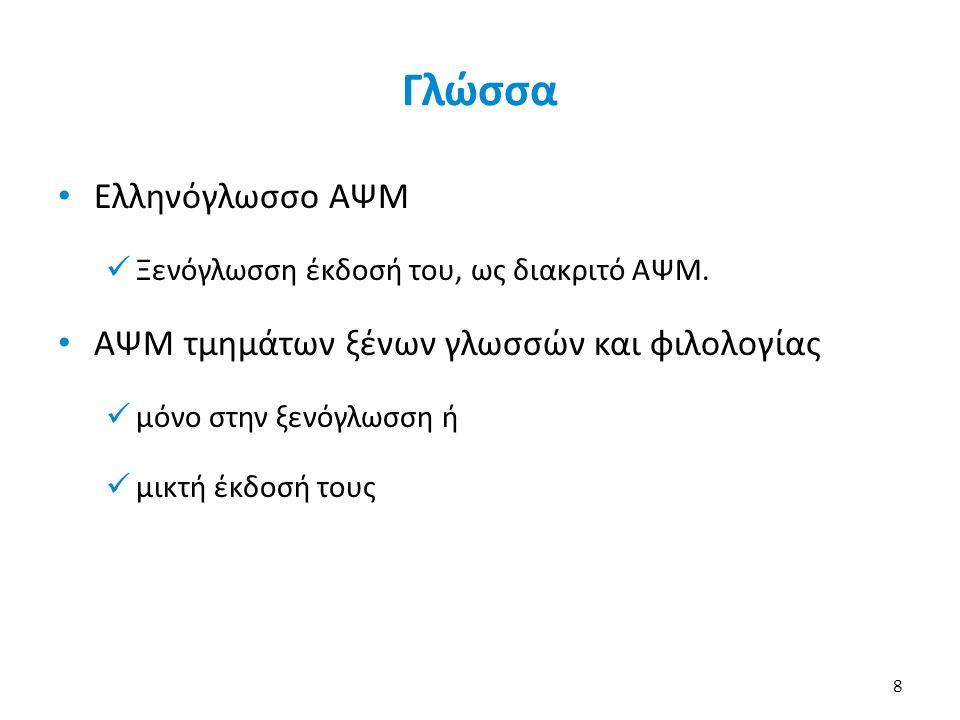Γλώσσα Ελληνόγλωσσο ΑΨΜ Ξενόγλωσση έκδοσή του, ως διακριτό ΑΨΜ.