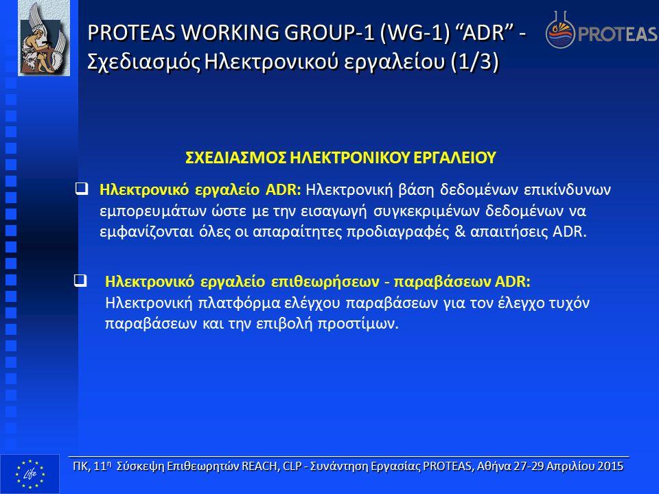 PROTEAS WORKING GROUP-1 (WG-1) ADR - Σχεδιασμός Ηλεκτρονικού εργαλείου (1/3) ΣΧΕΔΙΑΣΜΟΣ ΗΛΕΚΤΡΟΝΙΚΟΥ ΕΡΓΑΛΕΙΟΥ  Ηλεκτρονικό εργαλείο ADR: Ηλεκτρονική βάση δεδομένων επικίνδυνων εμπορευμάτων ώστε με την εισαγωγή συγκεκριμένων δεδομένων να εμφανίζονται όλες οι απαραίτητες προδιαγραφές & απαιτήσεις ADR.