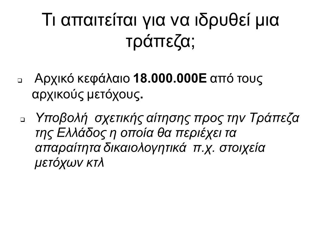 Τι απαιτείται για να ιδρυθεί μια τράπεζα;  Αρχικό κεφάλαιο 18.000.000Ε από τους αρχικούς μετόχους.  Υποβολή σχετικής αίτησης προς την Τράπεζα της Ελ