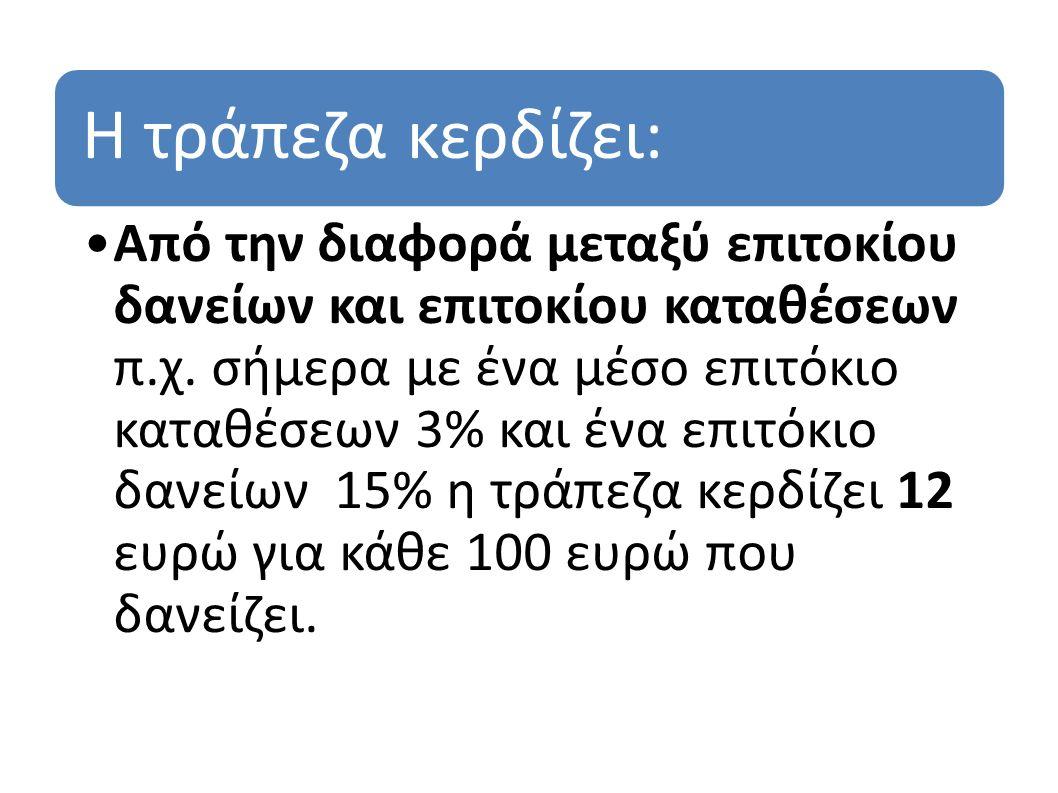 Η τράπεζα κερδίζει: Από την διαφορά μεταξύ επιτοκίου δανείων και επιτοκίου καταθέσεων π.χ. σήμερα με ένα μέσο επιτόκιο καταθέσεων 3% και ένα επιτόκιο