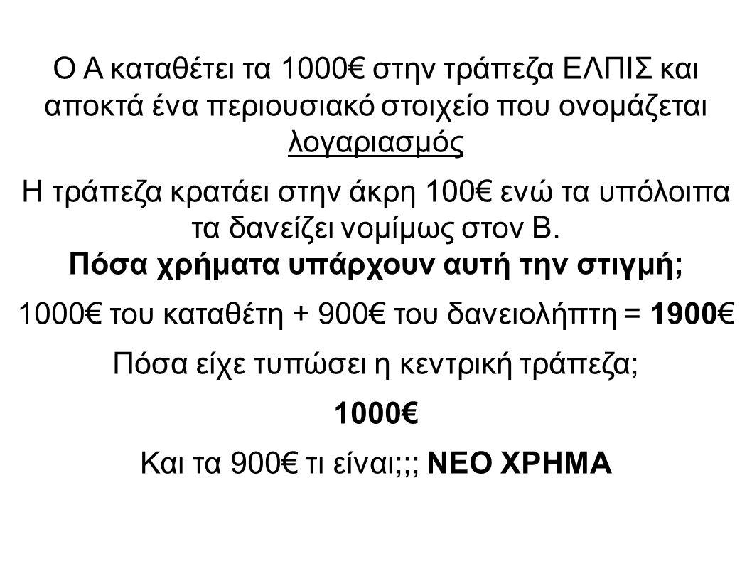 Ο Α καταθέτει τα 1000€ στην τράπεζα ΕΛΠΙΣ και αποκτά ένα περιουσιακό στοιχείο που ονομάζεται λογαριασμός Η τράπεζα κρατάει στην άκρη 100€ ενώ τα υπόλοιπα τα δανείζει νομίμως στον Β.