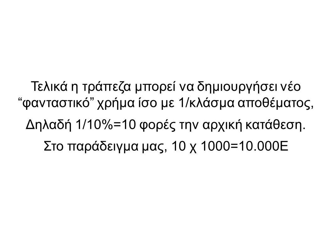 """Τελικά η τράπεζα μπορεί να δημιουργήσει νέο """"φανταστικό"""" χρήμα ίσο με 1/κλάσμα αποθέματος, Δηλαδή 1/10%=10 φορές την αρχική κατάθεση. Στο παράδειγμα μ"""