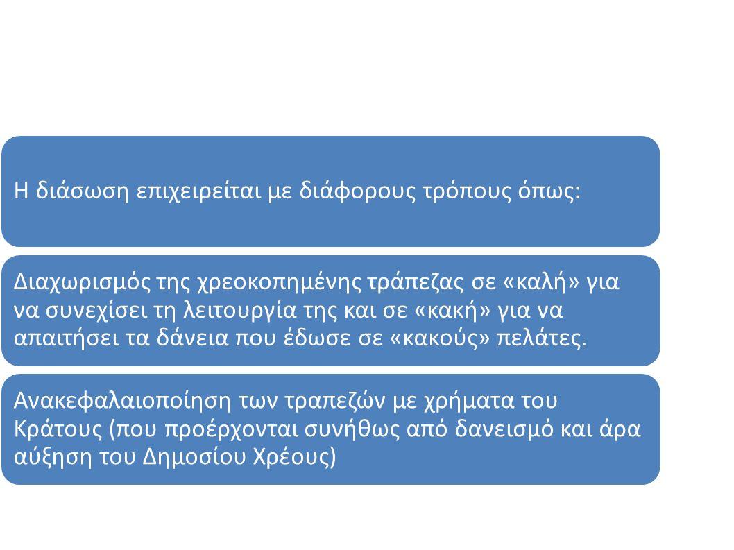 Η διάσωση επιχειρείται με διάφορους τρόπους όπως: Διαχωρισμός της χρεοκοπημένης τράπεζας σε «καλή» για να συνεχίσει τη λειτουργία της και σε «κακή» γι