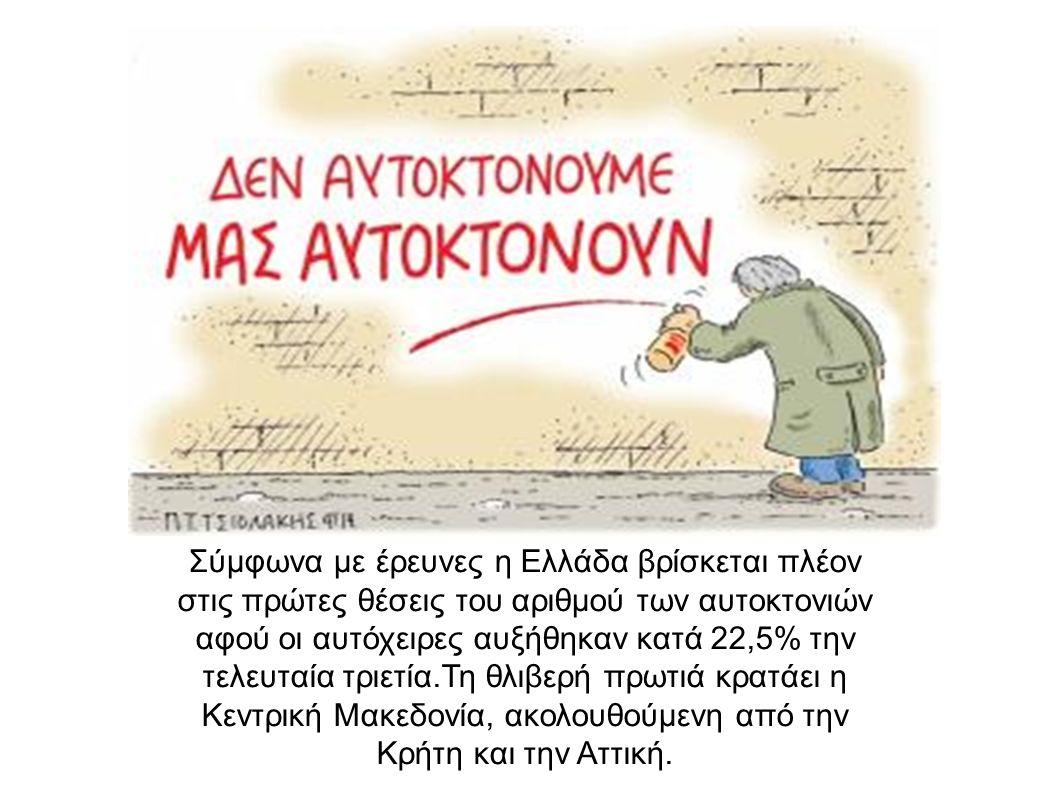 Σύμφωνα με έρευνες η Ελλάδα βρίσκεται πλέον στις πρώτες θέσεις του αριθμού των αυτοκτονιών αφού οι αυτόχειρες αυξήθηκαν κατά 22,5% την τελευταία τριετία.Τη θλιβερή πρωτιά κρατάει η Κεντρική Μακεδονία, ακολουθούμενη από την Κρήτη και την Αττική.