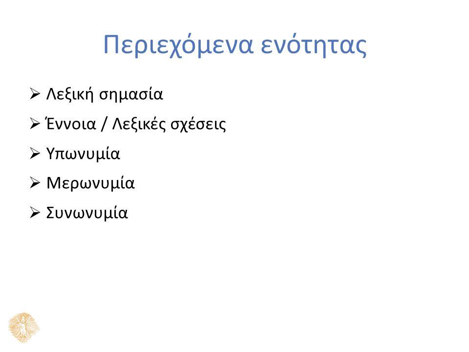 Λεξική σημασία Λεξική σημασιολογία δήλωση  εξωγλωσσική έννοια αναφορά  επιλογή ομιλητή έννοια  λεξικές σχέσεις  ένταση (ιδιότητες που ορίζουν τη σημασία μιας λέξης) / έκταση (σχέσεις με άλλες λέξεις)