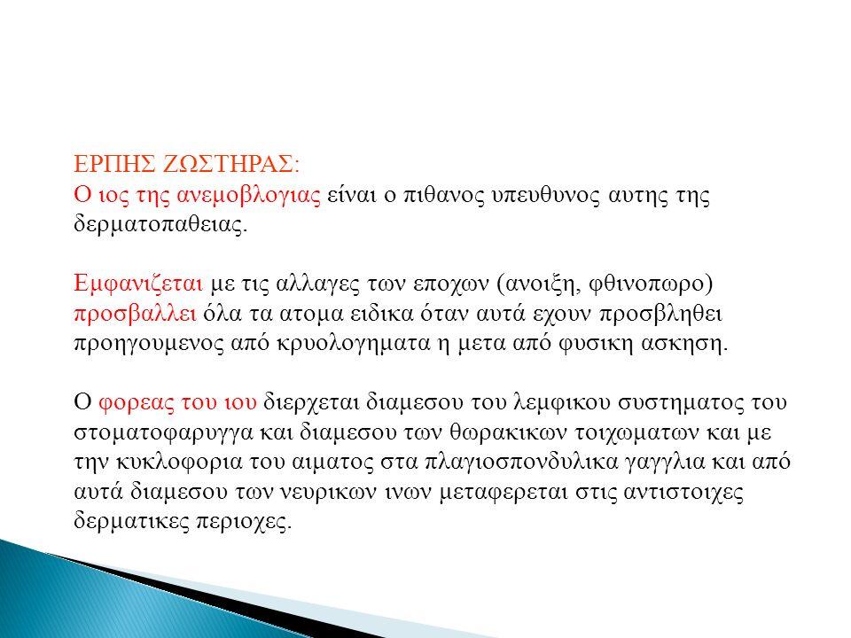 ΕΡΠΗΣ ΖΩΣΤΗΡΑΣ: Ο ιος της ανεμοβλογιας είναι ο πιθανος υπευθυνος αυτης της δερματοπαθειας. Εμφανιζεται με τις αλλαγες των εποχων (ανοιξη, φθινοπωρο) π