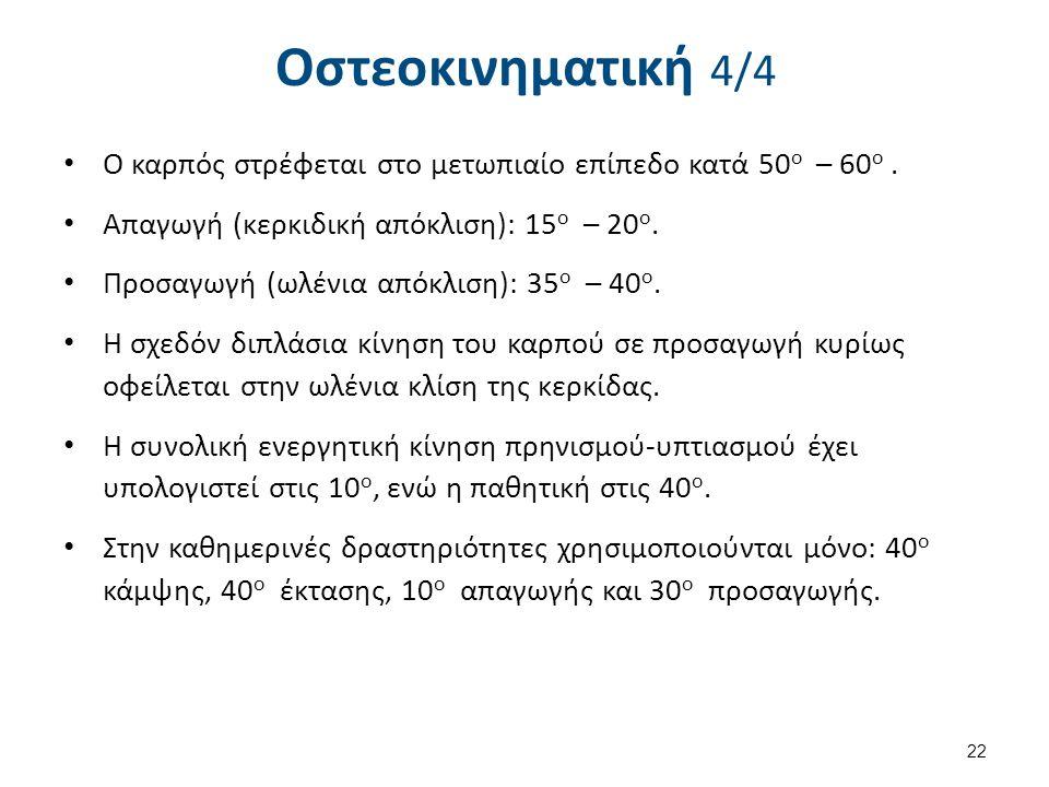 Οστεοκινηματική 4/4 Ο καρπός στρέφεται στο μετωπιαίο επίπεδο κατά 50 ο – 60 ο. Απαγωγή (κερκιδική απόκλιση): 15 ο – 20 ο. Προσαγωγή (ωλένια απόκλιση):