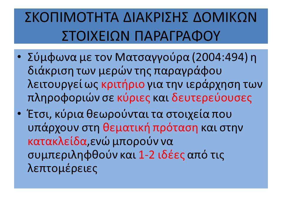 ΣΚΟΠΙΜΟΤΗΤΑ ΔΙΑΚΡΙΣΗΣ ΔΟΜΙΚΩΝ ΣΤΟΙΧΕΙΩΝ ΠΑΡΑΓΡΑΦΟΥ Σύμφωνα με τον Ματσαγγούρα (2004:494) η διάκριση των μερών της παραγράφου λειτουργεί ως κριτήριο γι