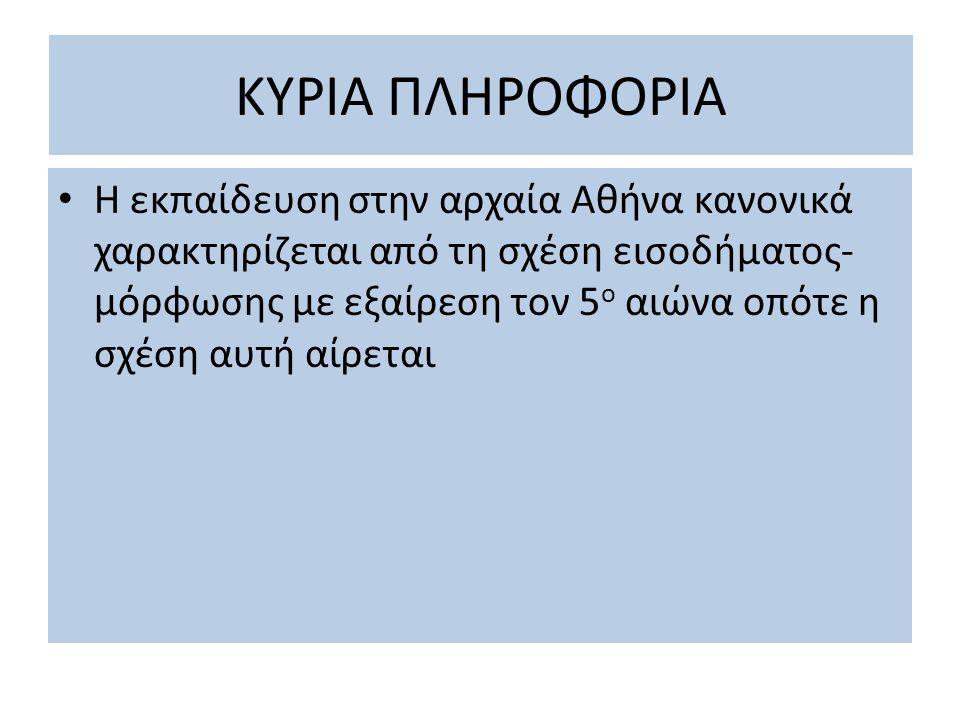 ΚΥΡΙΑ ΠΛΗΡΟΦΟΡΙΑ Η εκπαίδευση στην αρχαία Αθήνα κανονικά χαρακτηρίζεται από τη σχέση εισοδήματος- μόρφωσης με εξαίρεση τον 5 ο αιώνα οπότε η σχέση αυτ