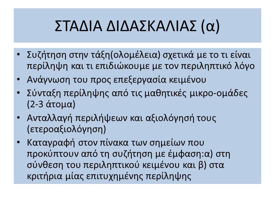 ΣΤΑΔΙΑ ΔΙΔΑΣΚΑΛΙΑΣ (β) Δεύτερη απόπειρα συγγραφής περιληπτικού κειμένου με βάση φύλλο εργασίας (βλ.