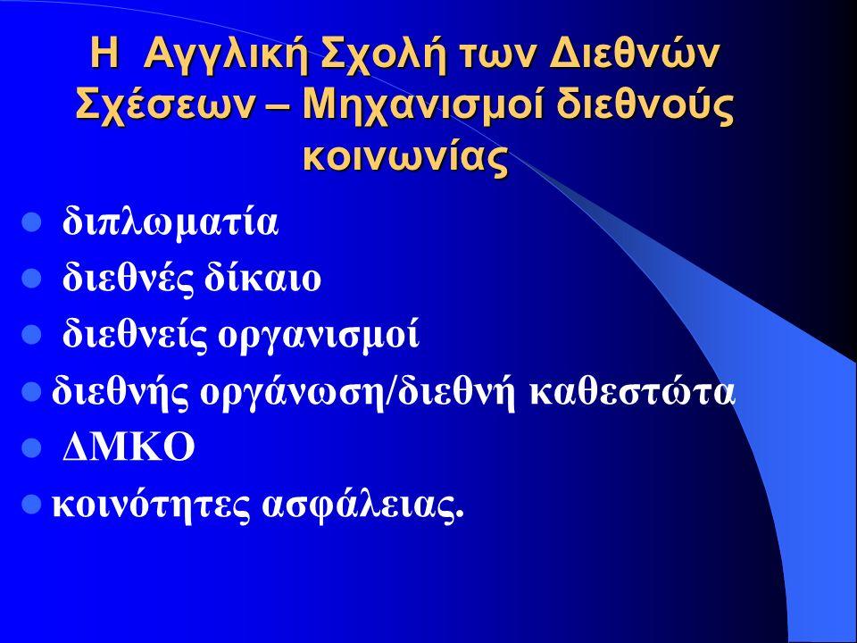 ΟΙ ΛΕΙΤΟΥΡΓΙΕΣ Η Ρεαλιστική προσέγγιση: - Εξισσορόπηση ισχύος α)Ισορροπία ισχύος β)Σύσταση συνασπισμών Η Φιλελεύθερη- θεσμική προσέγγιση - Το μέσο για την πλήρωση της «παγκόσμιας – διακυβέρνησης» Η Κονστρουκτιβιστική προσέγγιση.