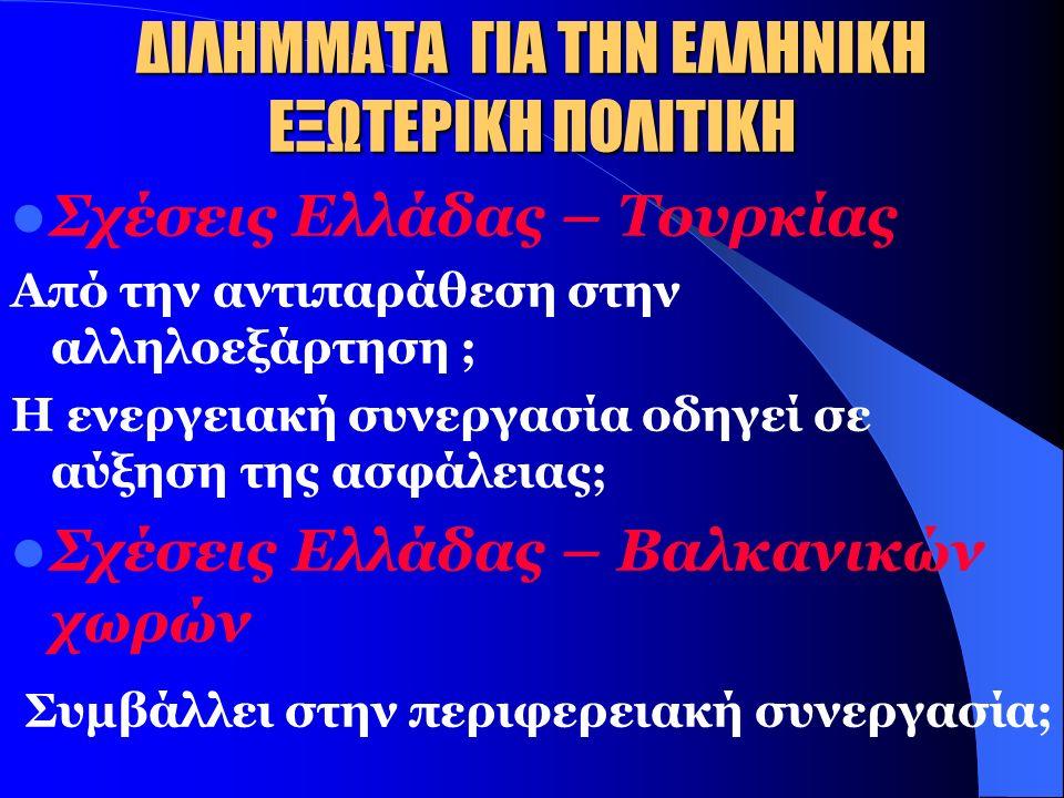 ΔΙΛΗΜΜΑΤΑ ΓΙΑ ΤΗΝ ΕΛΛΗΝΙΚΗ ΕΞΩΤΕΡΙΚΗ ΕΝΕΡΓΕΙΑΚΗ ΠΟΛΙΤΙΚΗ Σχέσεις Ελλάδας - Ρωσίας Αύξηση εξάρτησης ; Στενή στρατηγική σχέση; Σχέσεις Ελλάδας – ΗΠΑ Παράγοντας αντιπαράθεσης; Σύμπτωση συμφερόντων; Σχέσεις Ελλάδας – ΕΕ Ενδυναμώνεται η θέση της Ελλάδας στην ΕΕ; Αυξάνεται η εξάρτηση της ΕΕ από τη Ρωσία;