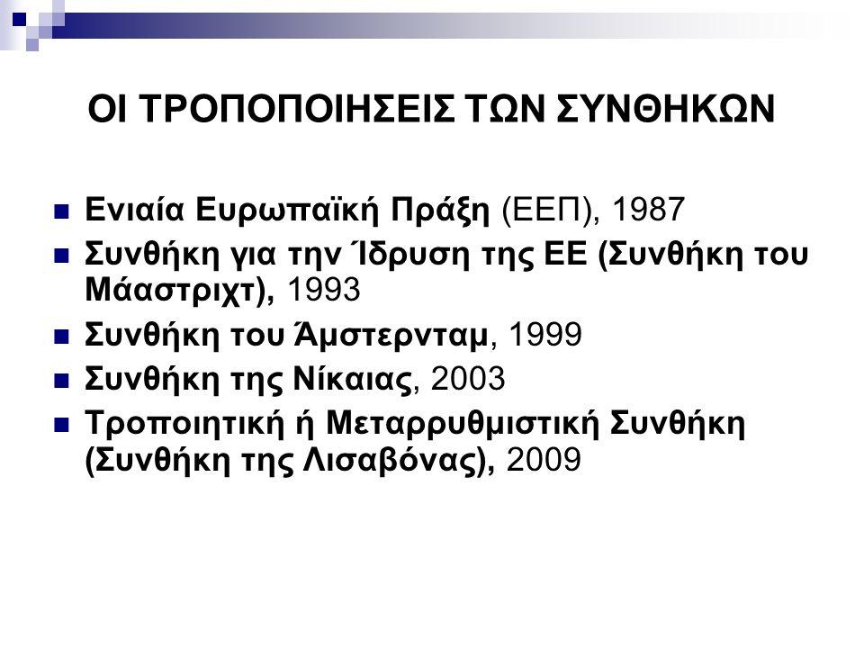 ΟΙ ΤΡΟΠΟΠΟΙΗΣΕΙΣ ΤΩΝ ΣΥΝΘΗΚΩΝ Ενιαία Ευρωπαϊκή Πράξη (ΕΕΠ), 1987 Συνθήκη για την Ίδρυση της ΕΕ (Συνθήκη του Μάαστριχτ), 1993 Συνθήκη του Άμστερνταμ, 1