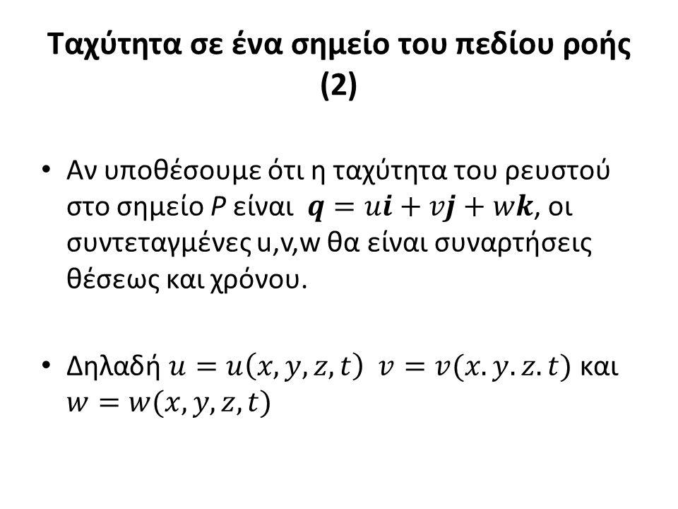 Ταχύτητα σε ένα σημείο του πεδίου ροής (2)